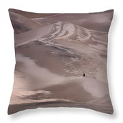 Hiker - Great Sand Dunes - Colorado Throw Pillow