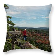 Hiker In Acadia National Park Throw Pillow