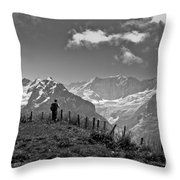 Hiker In The Alps Throw Pillow
