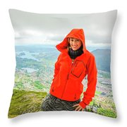 Hiker Woman In Norway Throw Pillow