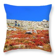 Hikers And Autumn Tundra On Mount Yale Colorado Throw Pillow