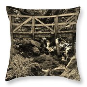 hikers Bridge over the Creek Throw Pillow