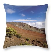 Hikers Inside Haleakala  Throw Pillow