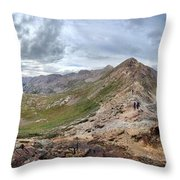 Hikers On Columbine Pass - Weminuche Wilderness - Colorado Throw Pillow