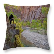 Hikers Zion National Park Throw Pillow