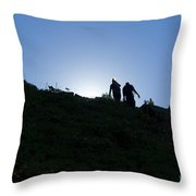 Hikiers On Mount Massive Throw Pillow