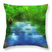 Hiking At The Rivers Edge Throw Pillow