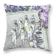 Hiking Down The Street I  Painterly Glowing Edges Invert  Throw Pillow