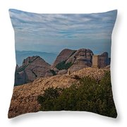 Hiking In Montserrat Spain Throw Pillow