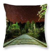 Hiking Into The Night Adirondack Log Keene Valley Ny New York Throw Pillow