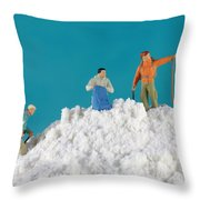 Hiking On Flour Snow Mountain Throw Pillow by Paul Ge
