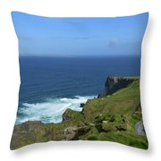Hiking Path Along The Top Of The Cliff's Of Moher Throw Pillow