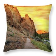 Hiking Trail At Smith Rock State Park Throw Pillow