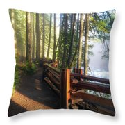 Hiking Trails At Lower Lewis River Trail Throw Pillow