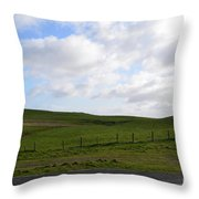 Hiking Trails, Rolling Hills And Grass Fields In Ireland Throw Pillow