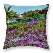 Hill Of Flowers Throw Pillow