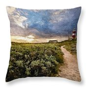 Hill Road To A Lighthouse H A Throw Pillow