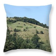 Hill With Haystack And Trees Landscape Throw Pillow