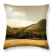 Hills And Fields Of Trial Harbour Throw Pillow