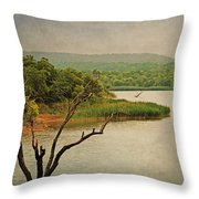 Hills And Lake In The Spring Throw Pillow