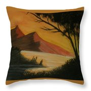 Hills During Sunset Throw Pillow