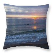 Hills Of Clouds With Ocean Sunset Throw Pillow