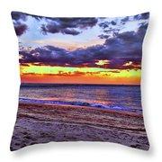 Hillsboro Beach Orange Sunset Hdr Throw Pillow