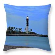 Hillsboro Lighthouse Twilight Time Throw Pillow