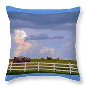 Hillside Hay Bales At Sunset Throw Pillow