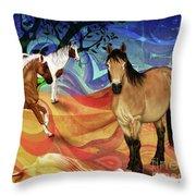 Hillside Horses Throw Pillow