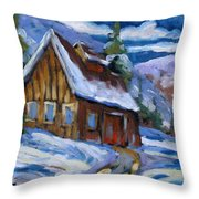 Hillsidebarn In Winter Throw Pillow