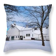 Hilltip Farm In Snow Throw Pillow