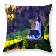 Hilltop Church In Misty Mountain Forest Throw Pillow