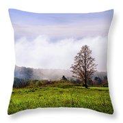 Hilltop Fog Sunrise Landscape Throw Pillow