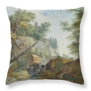 Hilly Landscape With A River And Figures In The Background Throw Pillow