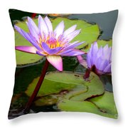 Hilo Water Lily 2 Throw Pillow