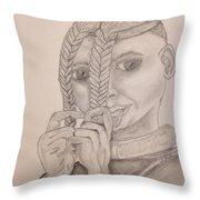 Himba Girl In Nambia Throw Pillow