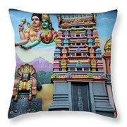 Hindu Deities On Wall Mural Of Sri Senpaga Vinayagar Tamil Temple Ceylon Rd Singapore Throw Pillow