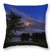 Hinkley Pond Moonset Throw Pillow