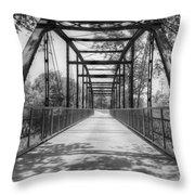 Hinkson Creek Bridge In Black And White Throw Pillow
