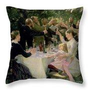 Hip Hip Hurrah Throw Pillow by Peder Severin Kroyer