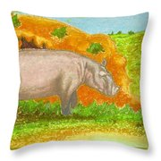 Hippo In The Savanna Throw Pillow