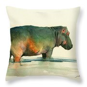 Hippo Watercolor Painting Throw Pillow