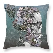 Hipster Floral Skull 2 Throw Pillow