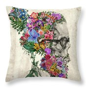 Hipster Floral Skull Throw Pillow