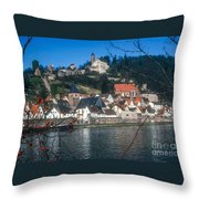 Hirschhorn Village On The Neckar Throw Pillow