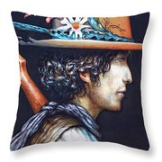 His Curls Throw Pillow