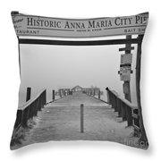 Historic Anna Maria City Pier In Fog Infrared 52 Throw Pillow