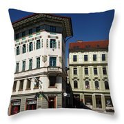 Historic Art Nouveau Buildings At Preseren Square White Tiled Ha Throw Pillow