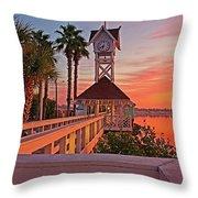 Historic Bridge Street Pier Sunrise Throw Pillow